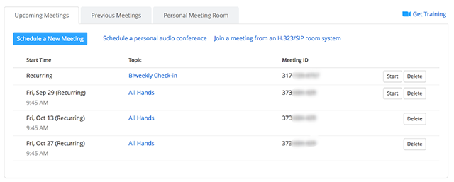 The upcoming meetings list in umn.zoom.us/meeting showing the meeting start times, topics, and meeting ID numbers