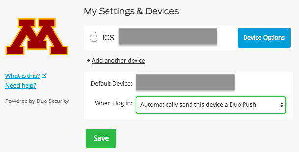 The My Settings & Devices screen in Duo Security.  The user's devices are listed, and the Device Options button next to the user's iOS phone is selected.