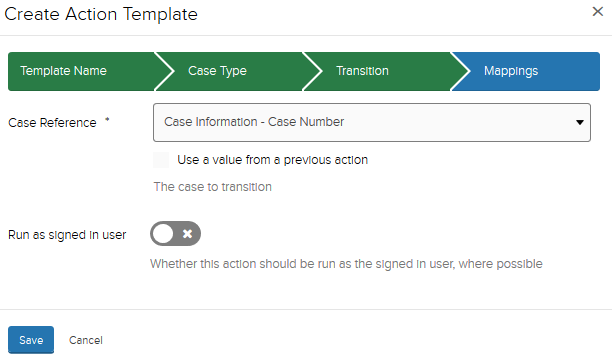 Jadu XFP action template window. In Mappings, Case Information - Case Number selected.