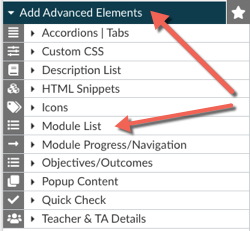 Add Advanced Elements menu expanded with an arrow pointing to the Module list option