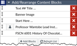 the add/rearrange content blocks menu open with all content blocks labeled