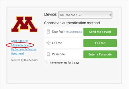 Duo authentication screen with the add a new device menu item circled