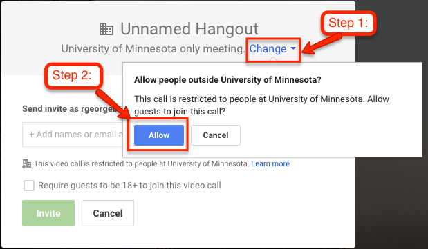 arrow pointing to Change button that opens up an option to allow guests outside of the UMN domain to access the meeting