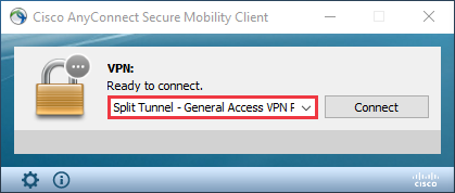 Cisco AnyConnect Client. The Connect To menu is highlighted.