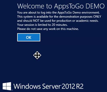 AppsToGo Demo Disclaimer