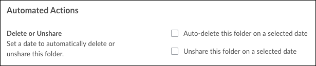The Automated Actions area of the settings screen with checkbox to Auto-Delete this folder on selected date