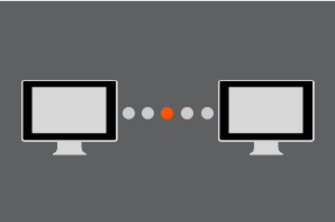 A small display with two computer monitors will appear, indicating connection.