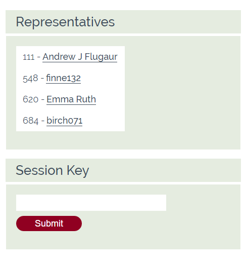 representative interface. list of representatives and session key box