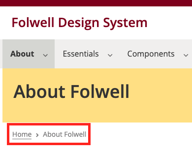 About Folwell page on folwell.umn.edu. The breadcrumb is highlighted. The breadcrumb shows as Home > About Folwell