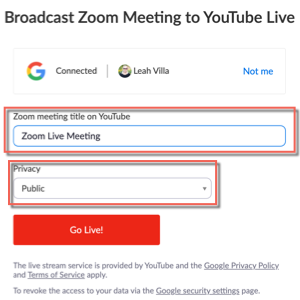Broadcast zoom meeting to youtube live. Shows connect account and options for zoom meeting title on youtube, privacy, and Go live! button.