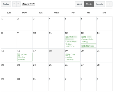 Canvas calendar with zoom meetings.