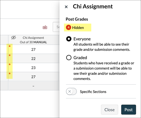 red dots in the gradebook
