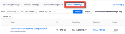 Cloud Recordings tab highlighted