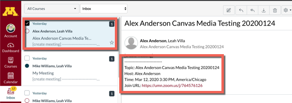 Canvas inbox, zoom conversation selected. meeting details and included zoom link highlighted.