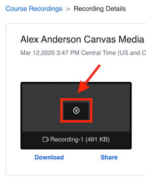 Zoom in canvas, course recordings, recording details. The play button highlighted in the center of a recording.