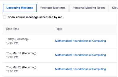 A class that has been set up for 3 recurring Zoom meetings, one each Thursday.