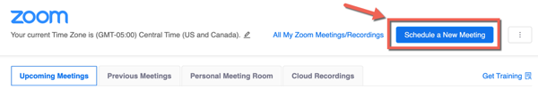 Canvas zoom integration. Schedule a new meeting highlighted.