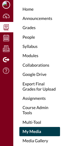 Canvas course menu bar. My Media is highlighted.