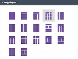 the options for different page layouts