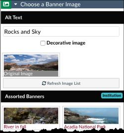 Choose a Banner image menu expanded