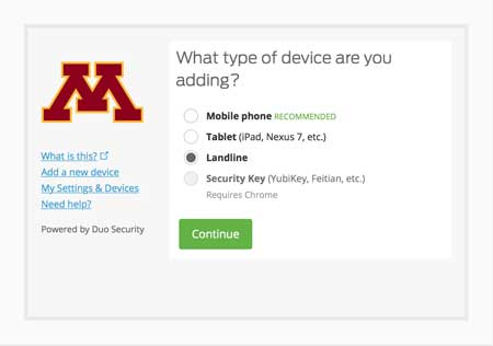 From the list of devices, landline is selected