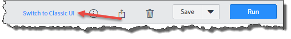 ServiceNow Reporting Toolbar with arrow pointing to Switch to Classic UI.