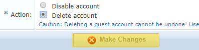 Clearpass registration removal confirmation page. The Delete account option is selected. The Make Changes button is highlited.