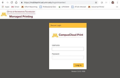 Campus Cloud Print login screen