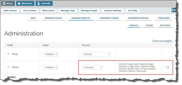 """Screenshot of Drupal """"Edit Content Type"""" screen. The """"Manage Display"""" tab is active and the Colorbox settings have been outlined."""