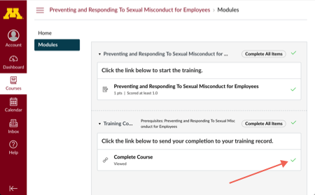 """Training modules page with arrow pointing toward green check next to Complete Course. Green check is also indicated with a """"Completed"""" tooltip."""