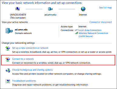 Network and sharing center window. Connect to a network is highlighted.