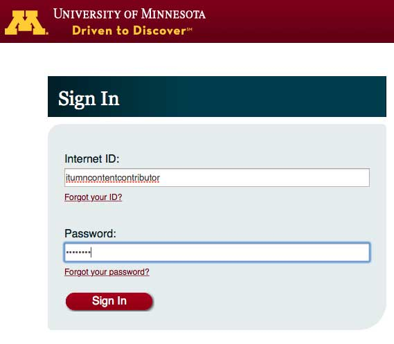 University of Minnesota Sign In with an Internet ID and Password entered