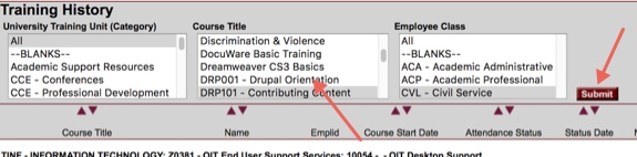 Training History report showing pick lists for Course Title and Employee Class.