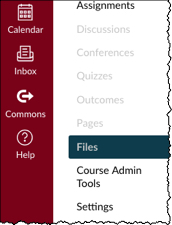 Canvas course menu with Files highlighted