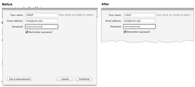 Before and after of a dialog window that has been cropped and resized.