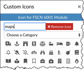 "Custom icons box opened up with the search term ""maps"" in the search area"