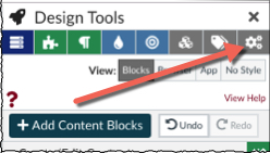arrow pointing to the Design Tools settings button in the top, right hand corner