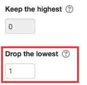 """Keep the highest and Drop the lowest text boxes with a """"1"""" entered in Drop the lowest."""