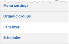 Partial screenshot of the Add Content Type sub-menu. Options in Menu settings, Organic groups, Panelizer, and Scheduler. Panelizer is highlighted.