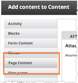 Pane add content. Content options include Activity, Blocks, Form Content, Menus, Page Content. Page Content is highlighted.