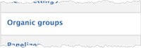 Organic groups button in the Add Content Type sub-menu.