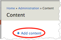 Content page. Add content link is highlighted.