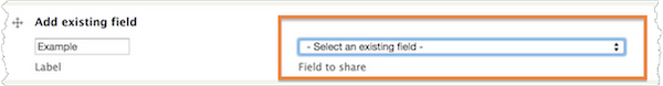 Add an existing field. The Select an existing field drop-down menu is highlighted.