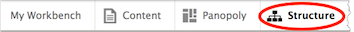 Drupal menu toolbar. Structure is highlighted.