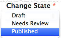 Change State drop-down menu. The options include Draft, Needs Review, and Published. Published is highlighted.