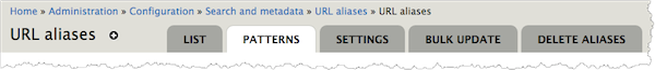 URL aliases page. The Pattern tab is highlighted.