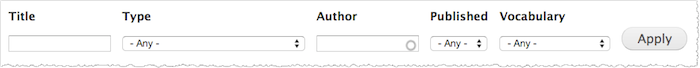 Drupal content filters include Title, Type, Author, Published, and Vocabulary.