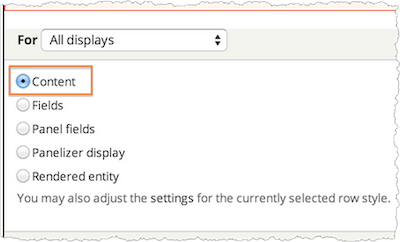 Screenshot of the Content radio button.