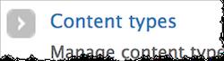 Screenshot of Content types link