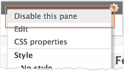 Pane settings drop-down menu. Disable this pane is highlighted.